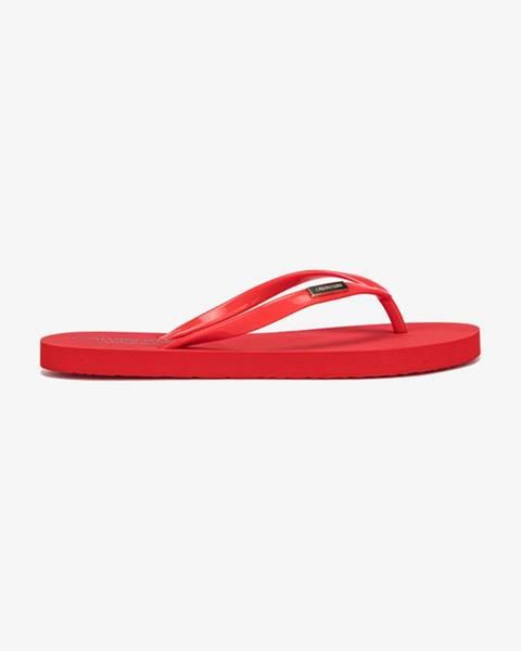 Červené pantofle Calvin Klein