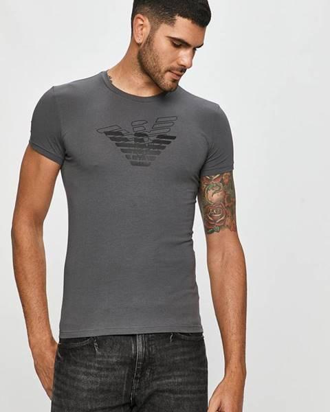 Šedé tričko Emporio Armani