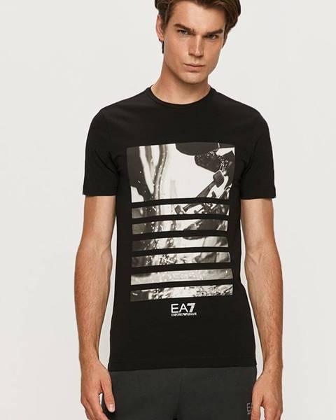 Černé tričko EA7 Emporio Armani
