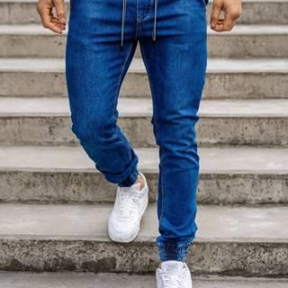 Tmavě modré pánské džínové jogger kalhoty