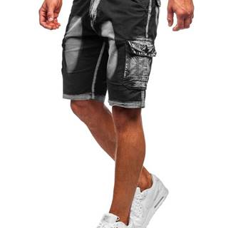 Černé pánské džínové kapsáčové kraťasy s páskem