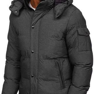 Grafitová pánská prošívaná zimní bunda