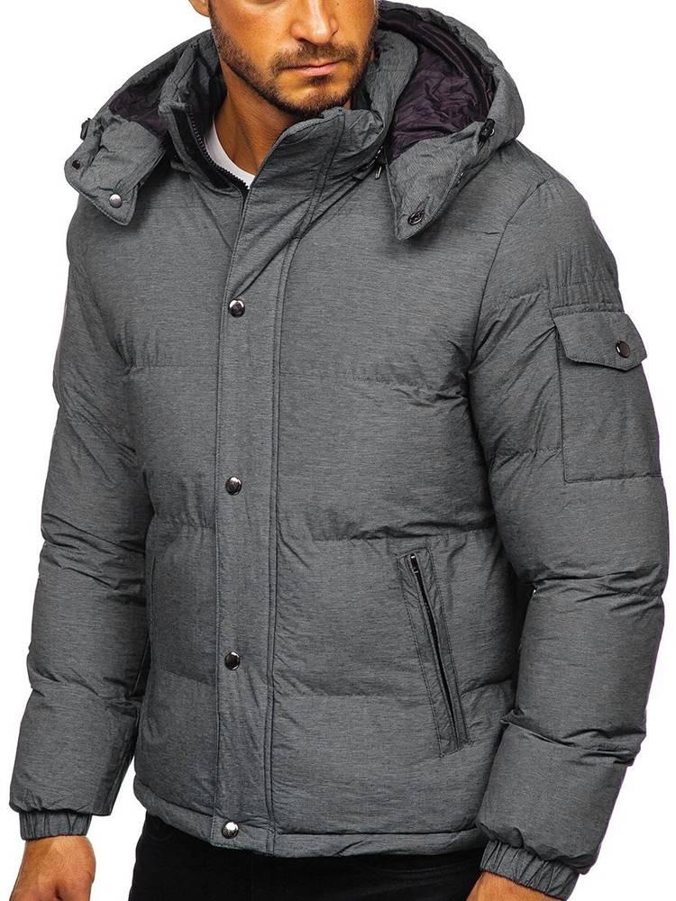 J.BOYZ Šedá pánská prošívaná zimní bunda