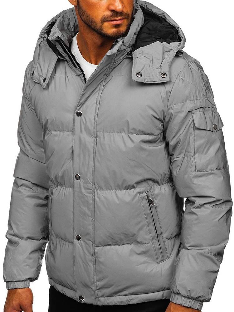 J.BOYZ Stříbrná pánská prošívaná zimní bunda