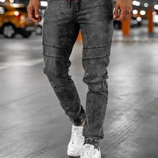 Černé pánské džínové jogger kahoty