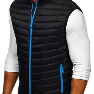 Černo-modrá pánská prošíváná vesta bez kapucí