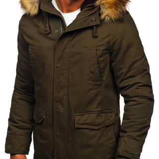 Zelená pánská zimní/jarní bunda 2v1 parka