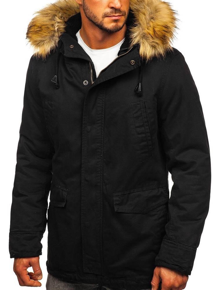 NATURE Černá pánská zimní/jarní bunda 2v1 parka