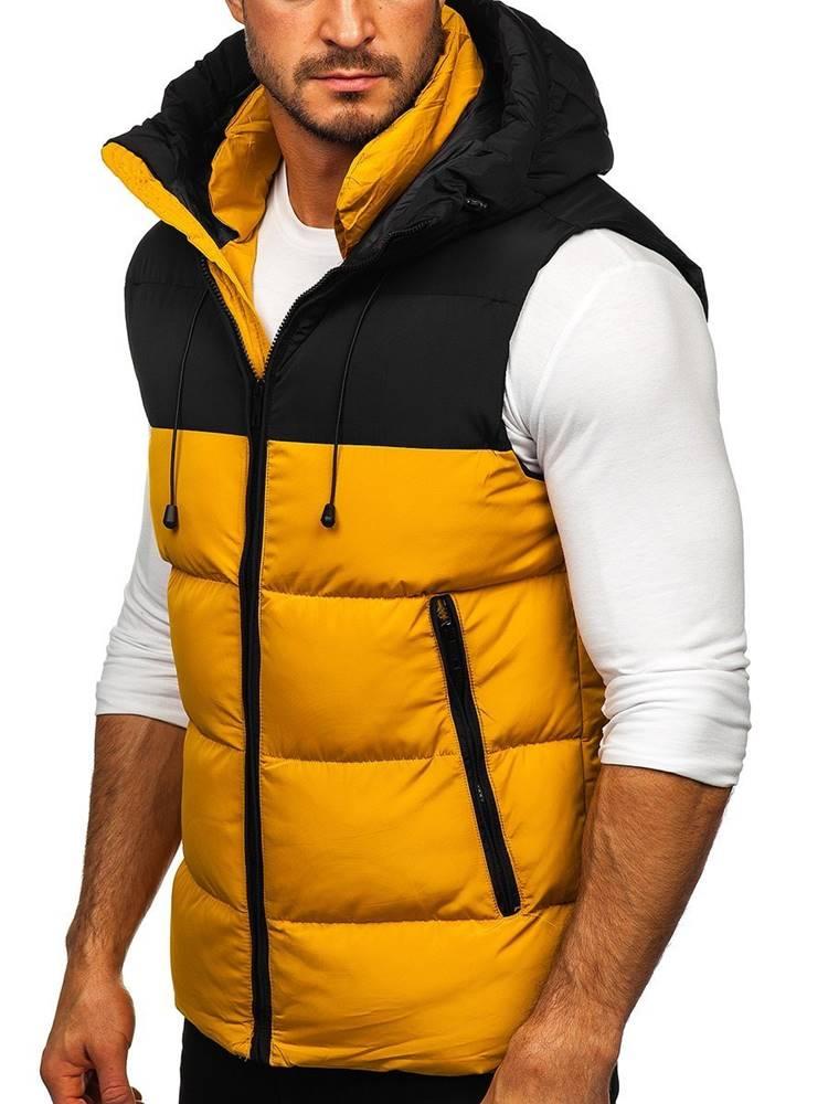 J.BOYZ Bílá pánská prošíváná vesta s kapucí
