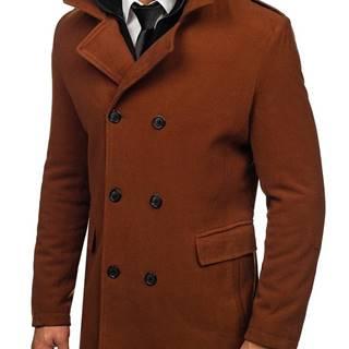 Hnědý pánský dvouřadový kabát s odepínacím límcem