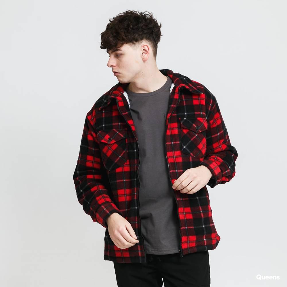 Urban Classics Urban Classics Plaid Teddy ined Shirt Jacket černá / červená