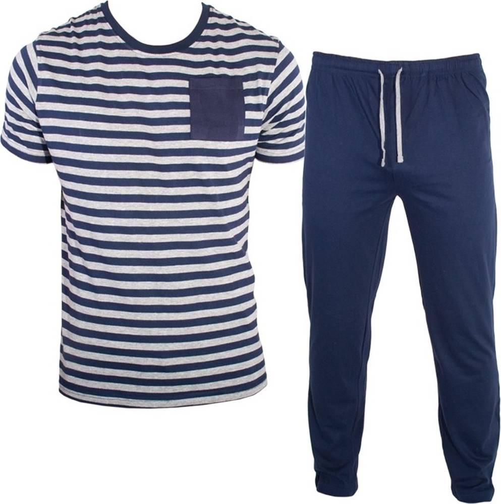 Molvy Pánské dlouhé pyžamo  modro šedé proužky XXL Možnost vrácení zboží do 120 dnů!