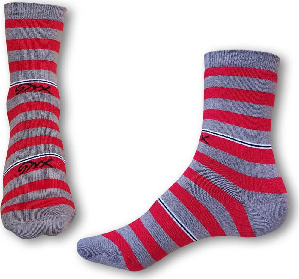 Styx Ponožky  crazy červeno šedé proužky