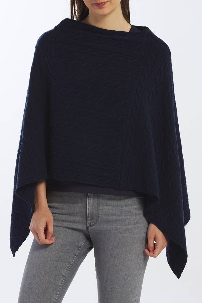 gant Svetr  D2. Lambswool Cable Poncho
