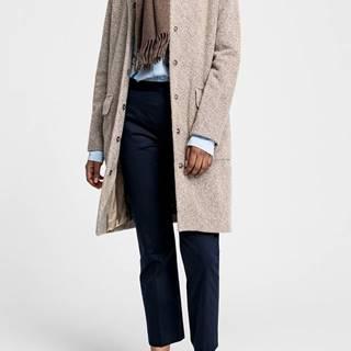 Kabát  O2. Collarless Boiled Wool Coat