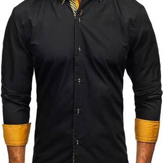 Černo-hnědá pánská elegantní košile s dlouhým rukávem