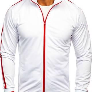 Bílá pánská mikina na zip bez kapuce retro style