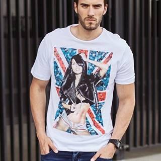 Bílé pánské tričko s potiskem