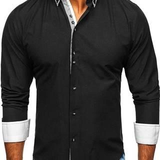 Černá pánská elegantní košile s dlouhým rukávem