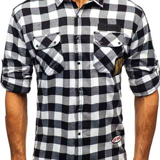 Černá pánská flanelová košile s dlouhým rukávem