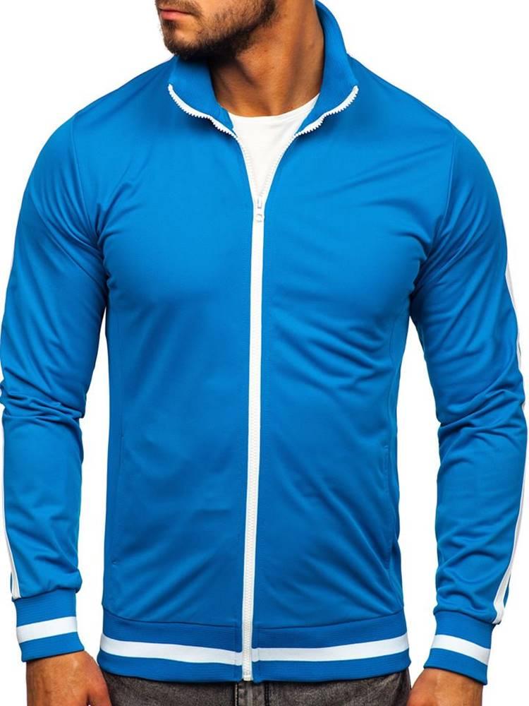 BOLF Modrá pánská mikina na zip bez kapuce retro style