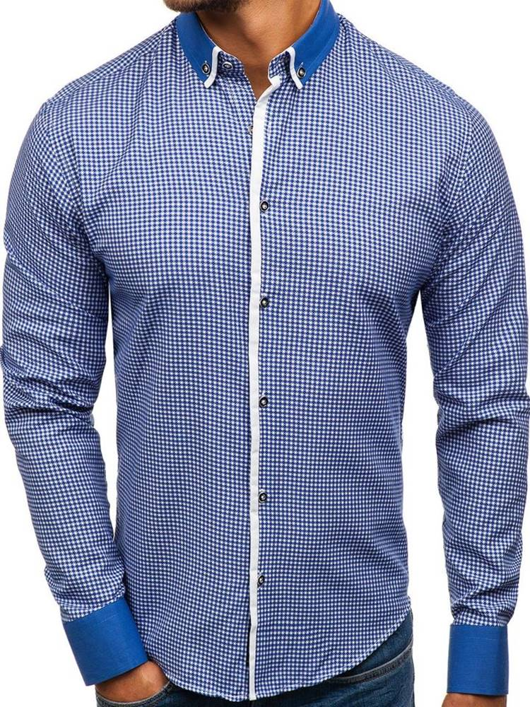 BOLF Modrá pánská vzorovaná košile s dlouhým rukávem