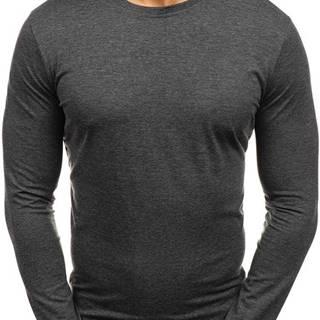 Antracitové pánské tričko s dlouhým rukávem bez potisku