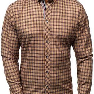 Hnědá pánská kostkovaná košile s dlouhým rukávem