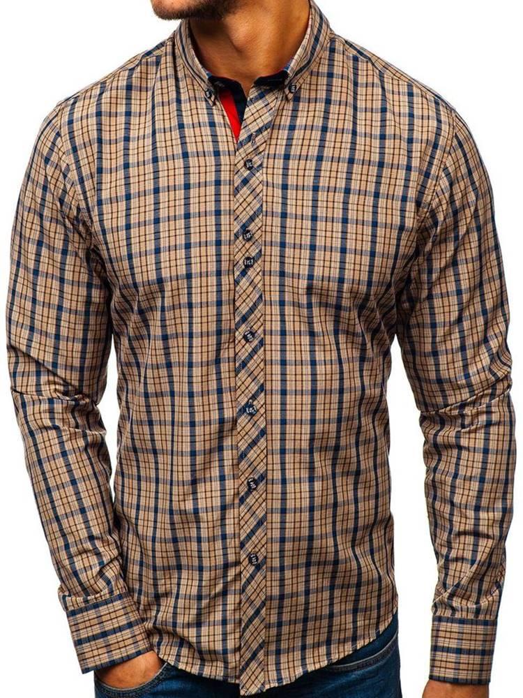 BOLF Hnědá pánská kostkovaná košile s dlouhým rukávem