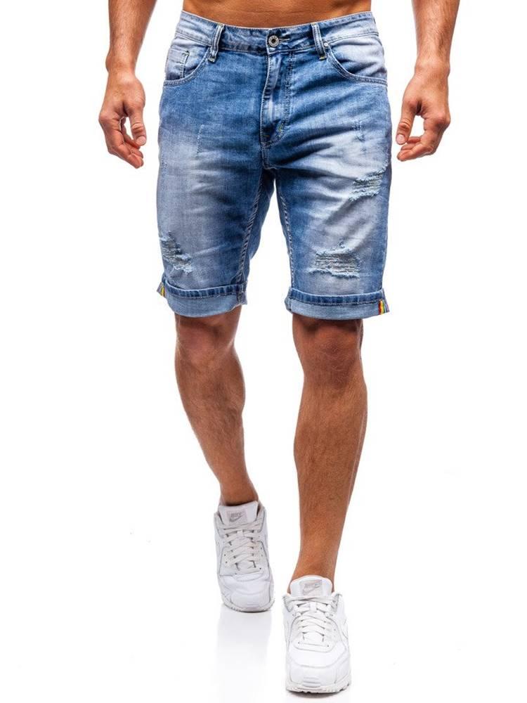 ROSS KEMP Modré pánské džínové kraťasy