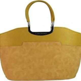 Grosso Kabelky Žlutá hořčicová matná kabelka do ruky S5 Žlutá