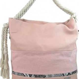 Tessra Kabelky Velká růžová dámská kabelka s lanovými uchy 4543-BB Růžová