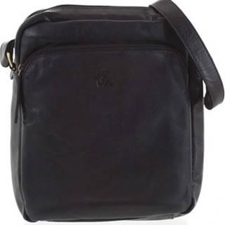 Wild Collection Kabelky s dlouhým popruhem Pánská kožená crossbody taška černá - WILD Jesualdo Černá
