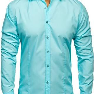 Pánská světle zelená elegantní košile s dlouhým rukávem