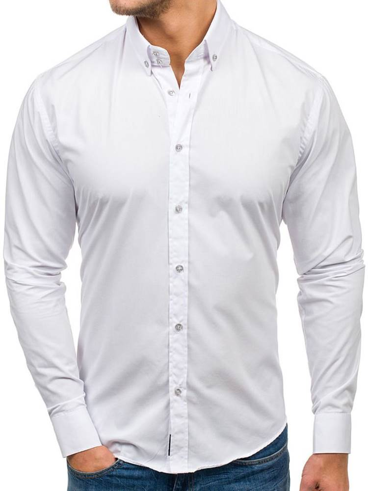 BOLF Pánská bílá elegantní košile s dlouhým rukávem