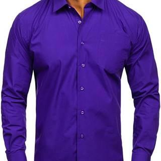 Fialová pánská elegantní košile s dlouhým rukávem