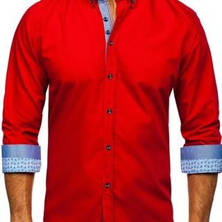 Červená pánská elegantní košile s dlouhým rukávem