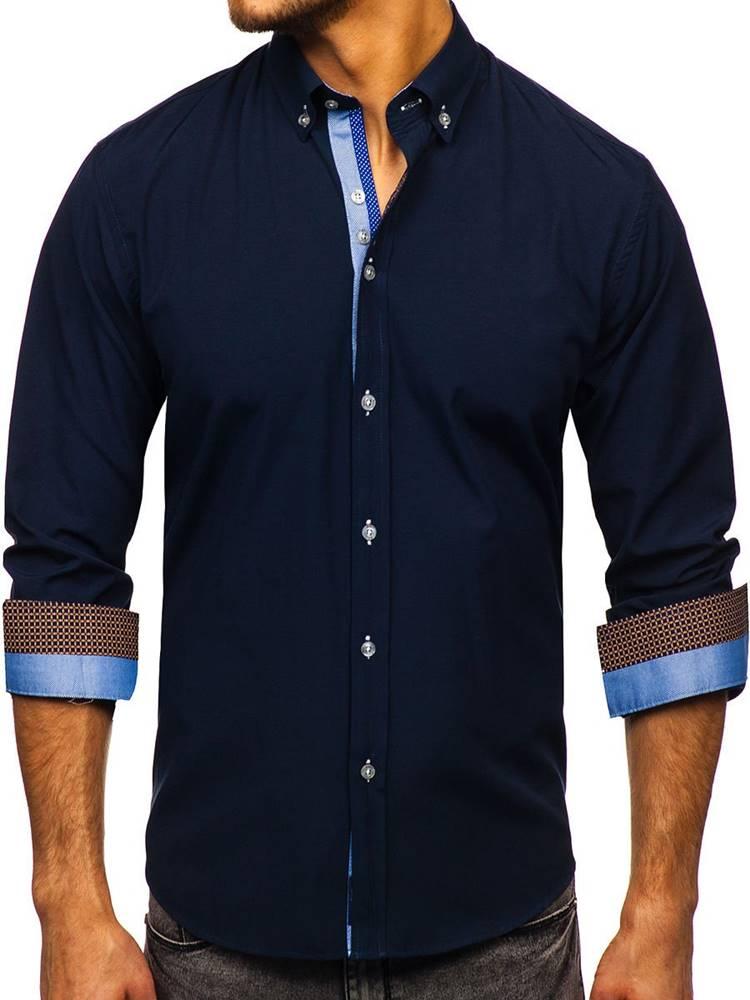 BOLF Tmavě modrá pánská elegantní košile s dlouhým rukávem