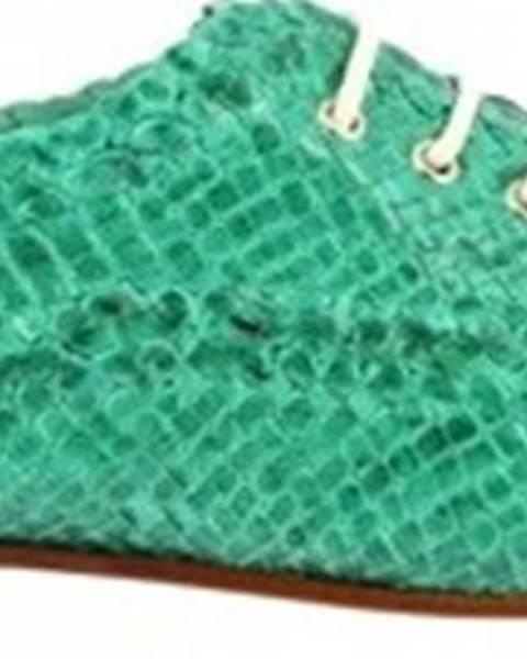 Zelené polobotky Leonardo Shoes