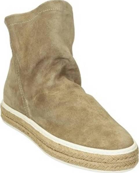 Béžové kozačky Leonardo Shoes
