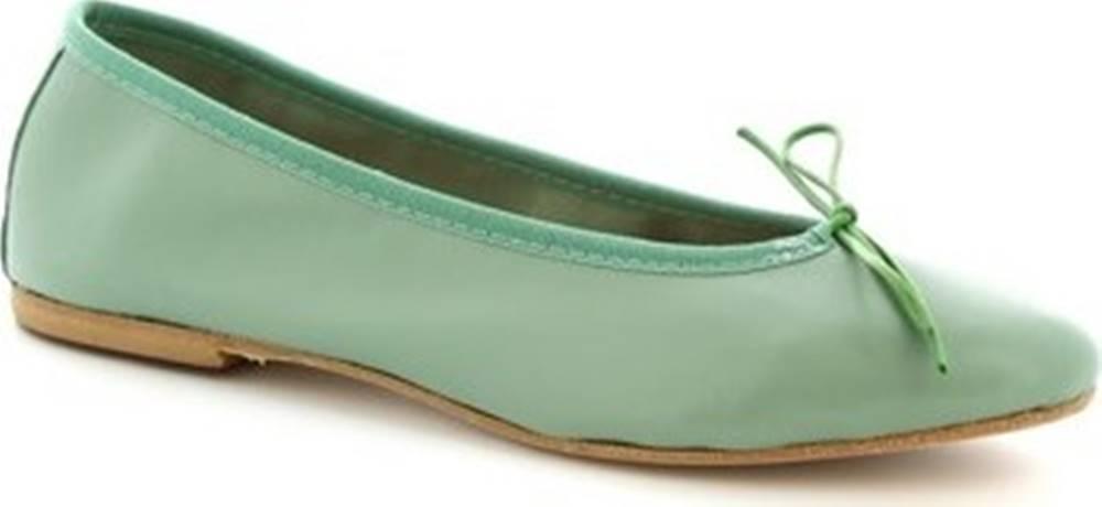 Leonardo Shoes Leonardo Shoes Baleríny 6087 CUOIO NAPPA VERDE Zelená