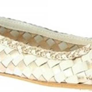 Leonardo Shoes Baleríny GIANNA GOLD/WHITE Zlatá