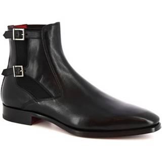 Leonardo Shoes Kotníkové boty 9041/19 TOM VITELLO NERO Černá