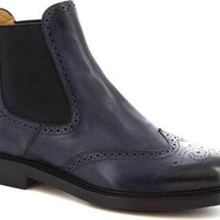Leonardo Shoes Kotníkové kozačky 9015/19 CAPRI DELAV? BLU Modrá