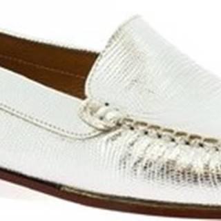 Leonardo Shoes Mokasíny 318L ARGENTO Stříbrná