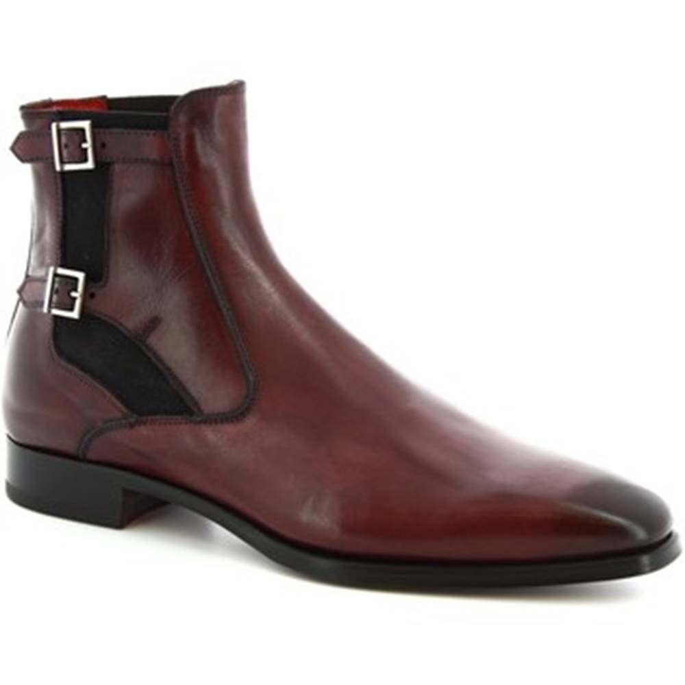 Leonardo Shoes Leonardo Shoes Kotníkové boty 9041/19 TOM VITELLO DELAVE BORDEAUX Červená