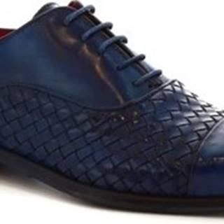 Leonardo Shoes Šněrovací polobotky 188 V.BLU INTRECCIATO Modrá