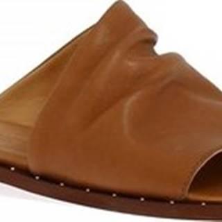 Leonardo Shoes Dřeváky 372B VITELLO CUOIO Hnědá
