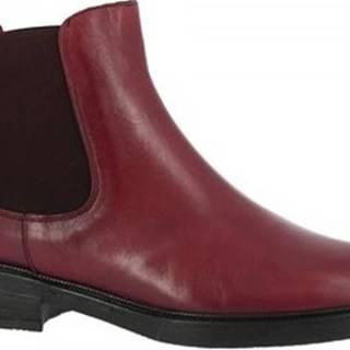 Leonardo Shoes Kotníkové boty T130 TOFFY BORDO Červená