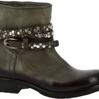 Leonardo Shoes Kotníkové kozačky K605 ANTIK GRIGIO